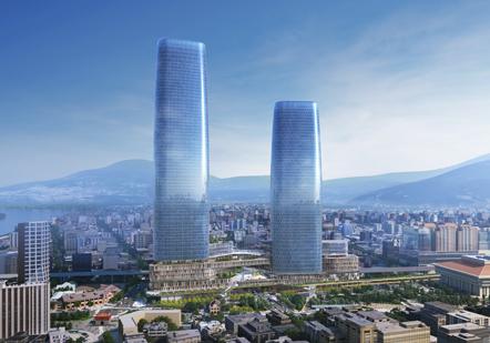 台北市長柯文哲今天說,雙子星蓋是一定會蓋,只是過程中,有些需要修改。圖/雙子星模擬圖/開發單位提供