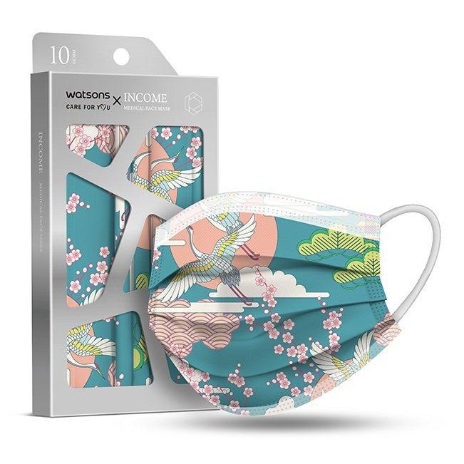屈臣氏將於4月3日開賣「屈臣氏 X 銀康醫療防護口罩」-和風舞鶴,10片裝特價1...