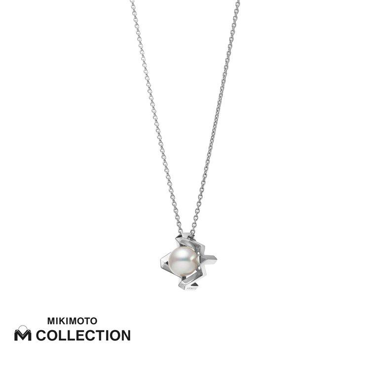 MIKIMOTO M Collection 18K白金墜鍊,75,000元。圖/...