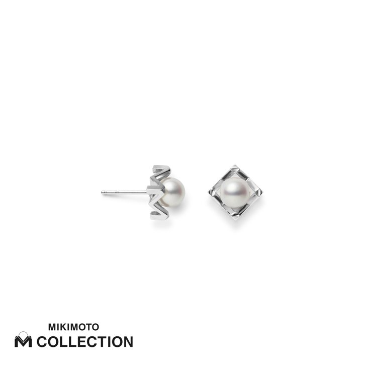 MIKIMOTO M Collection 18K白金耳環,50,000元。圖/...
