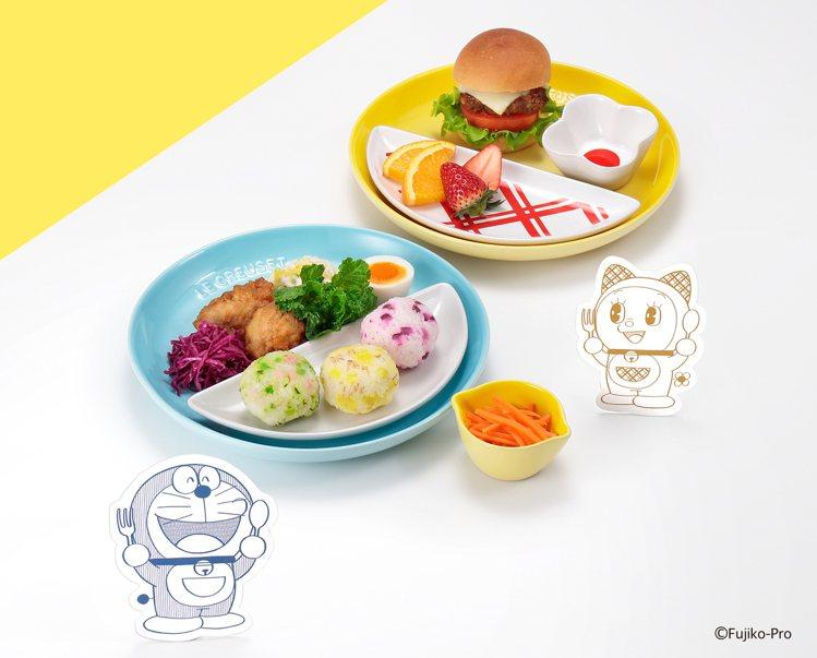 LE CREUSET哆啦A夢/哆啦美系列口袋型餐盤組/各2,380元。圖/LE ...