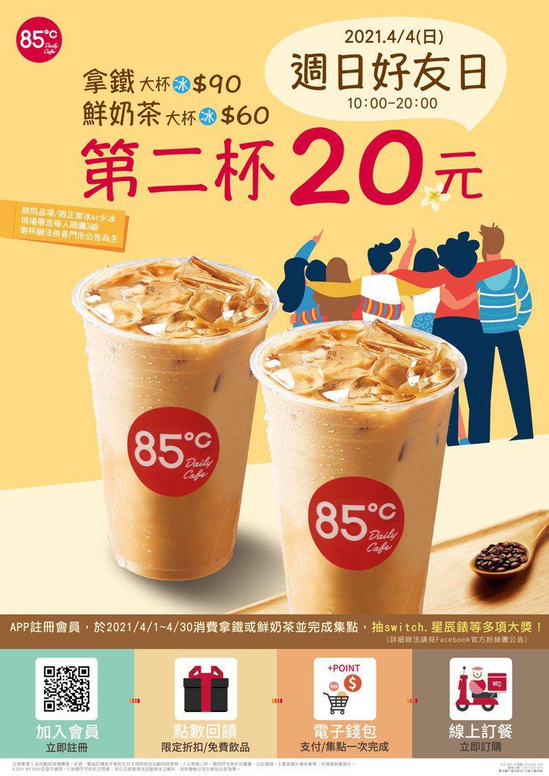 85℃周日好友日推出「第二杯20元」優惠。圖/85℃提供