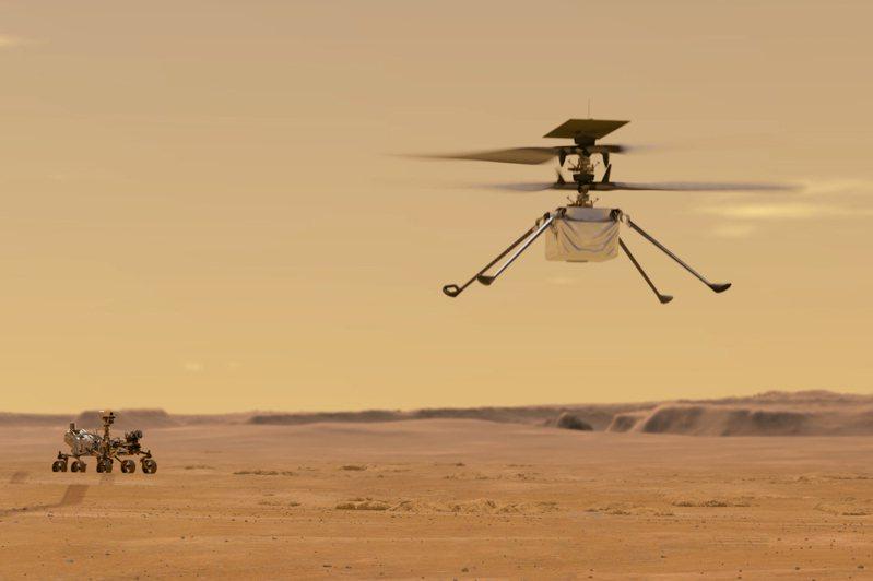 NASA宣布,「創新號」(Ingenuity)迷你火星直升機已順利落在火星表面,準備展開首趟飛行。 美聯社