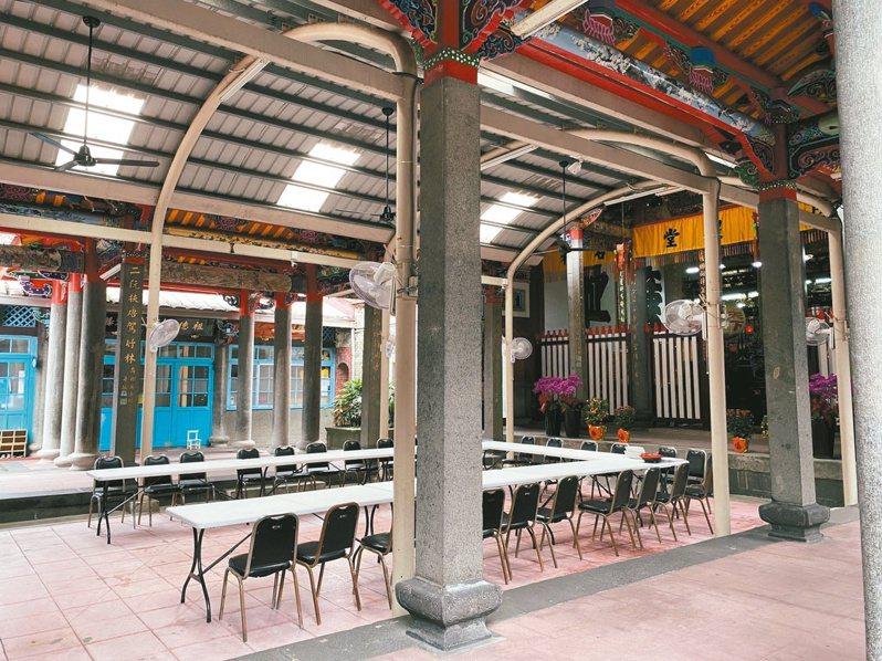 陳德星堂中庭廣場為幼稚園學生下課玩耍的地方。記者潘才鉉/攝影