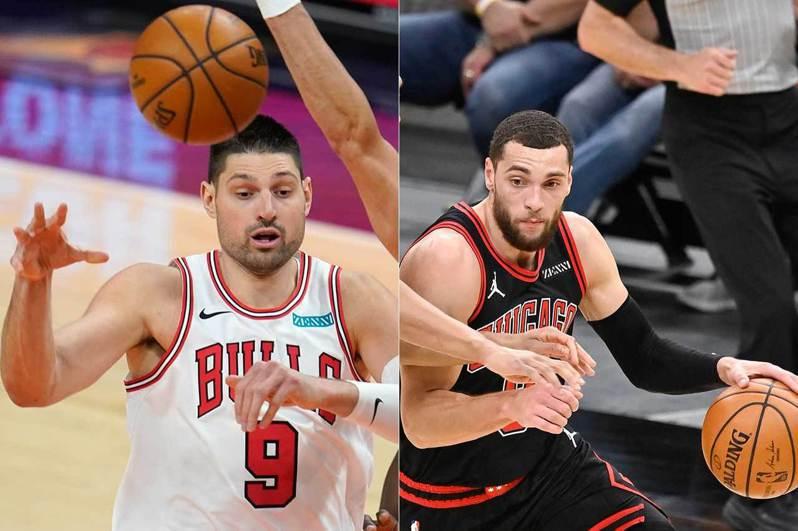 公牛在交易截止日前換來中鋒佛西維奇(左),與後衛拉文(右)形成球隊新的雙核心,在經過幾場適應之後,他們昨天在主場打敗籃網,讓人耳目一新。 美聯社