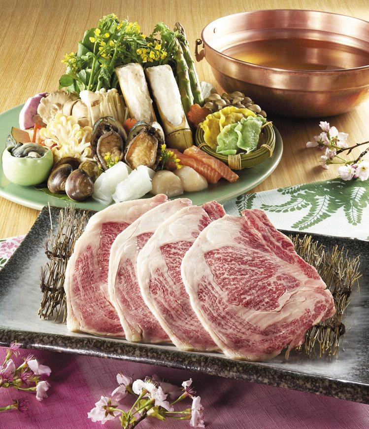 鹿兒島和牛海鮮涮涮鍋,適合2人共享,每套3,680元。圖/欣葉提供