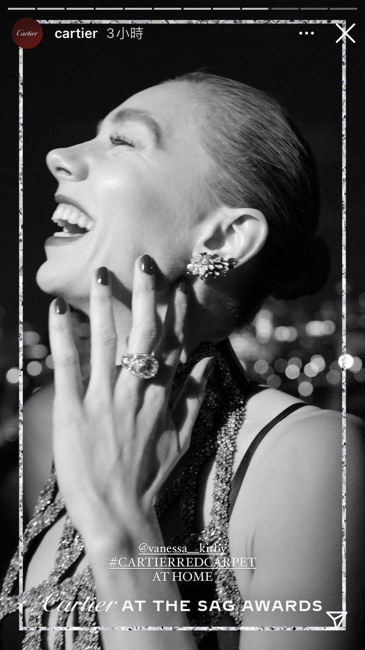 凡妮莎寇比配戴卡地亞珠寶。圖/取自IG @Cartier