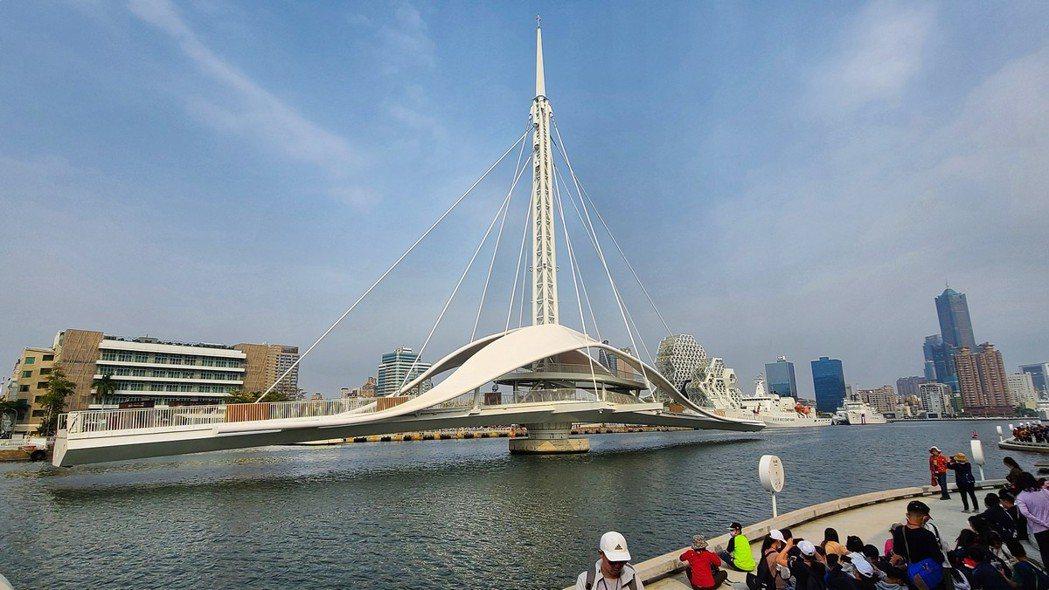 大港橋是開啟橋中較罕見的水平旋轉橋,姿態造型流線優雅。圖/梁旅珠提供