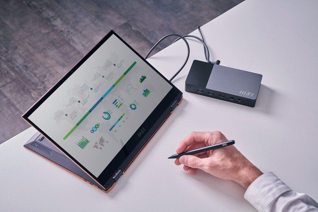 第2代 MSI USB-C多功能擴充平台將所有連接埠整合至一個擴充盒。 微星/提...