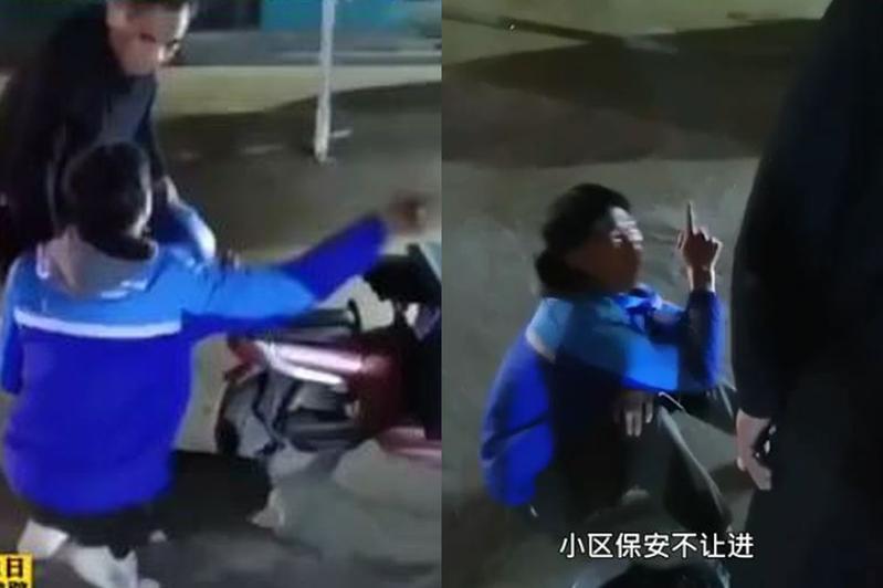 大陸河南一位外送員下班回家,卻被自家小區保全以為是來送餐阻攔不讓進,他坐地崩潰大哭。圖翻攝自Youtube「漩渦視頻」