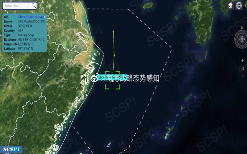 中國自日前聲稱有美軍艦艇出現在長江口海域後,對美軍在第一島鏈的行蹤十分敏感。圖翻攝自微博@南海戰略態勢感知