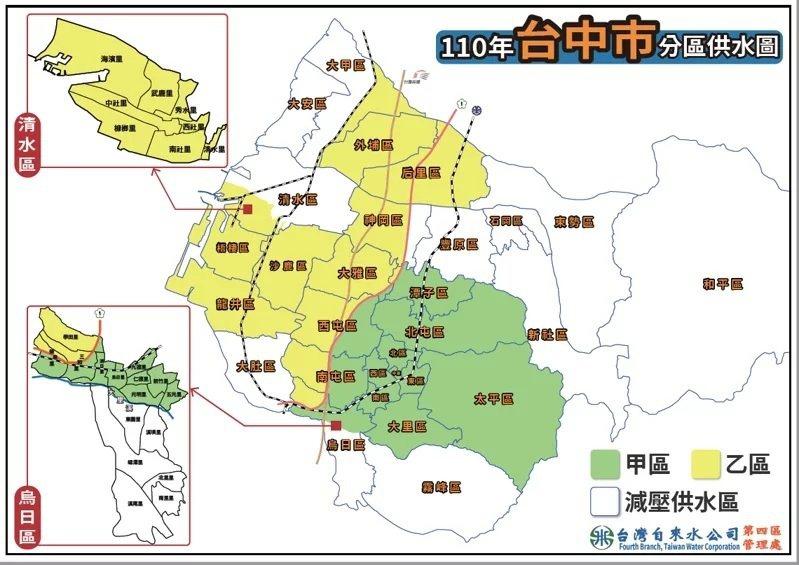台中限水抗旱,今起進入「供5停2」措施。圖/取自台灣自來水公司網站