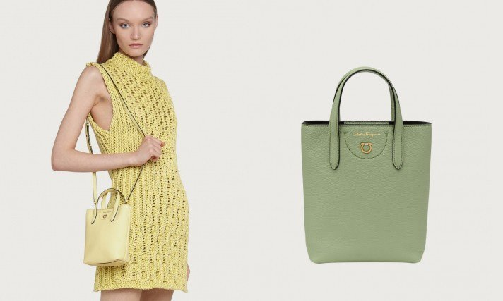 Gancini牛皮迷你小包春夏全新推出了淡粉紅、淡黃色和淺亮綠色,讓整個包身看來...