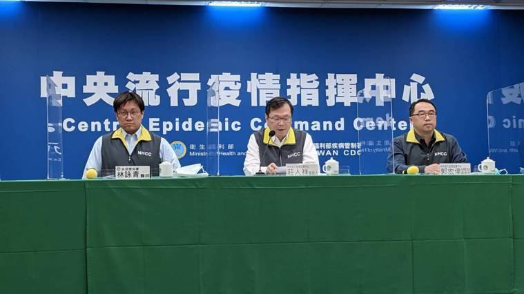 中央流行疫情指揮中心4月6日14:00記者會出席名單,由左到右疾病管制署預防醫學...