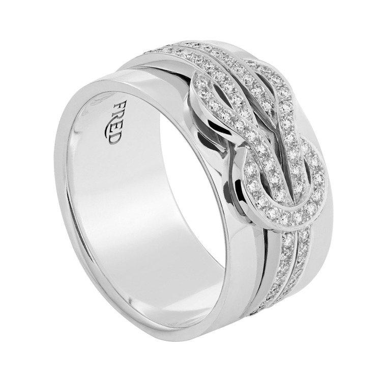 FRED Chance Infinie 18K白金鑲鑽戒指中號,20萬8,900...