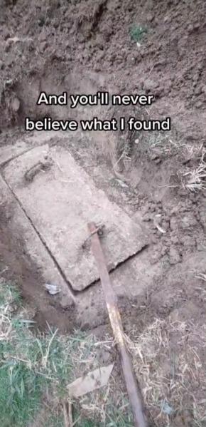 男子在後院挖到「祕密寶藏箱」。圖/取自tiktok@tonyhuismanlp