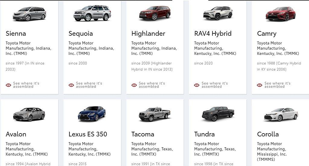 目前Toyota汽車在美國生產的新車分別有Sienna、Sequoia、High...