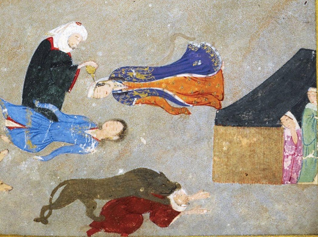 1410至1411年間的附插畫文集局部,瑪吉努遺世獨立時與他成為好朋友的野獸在一...
