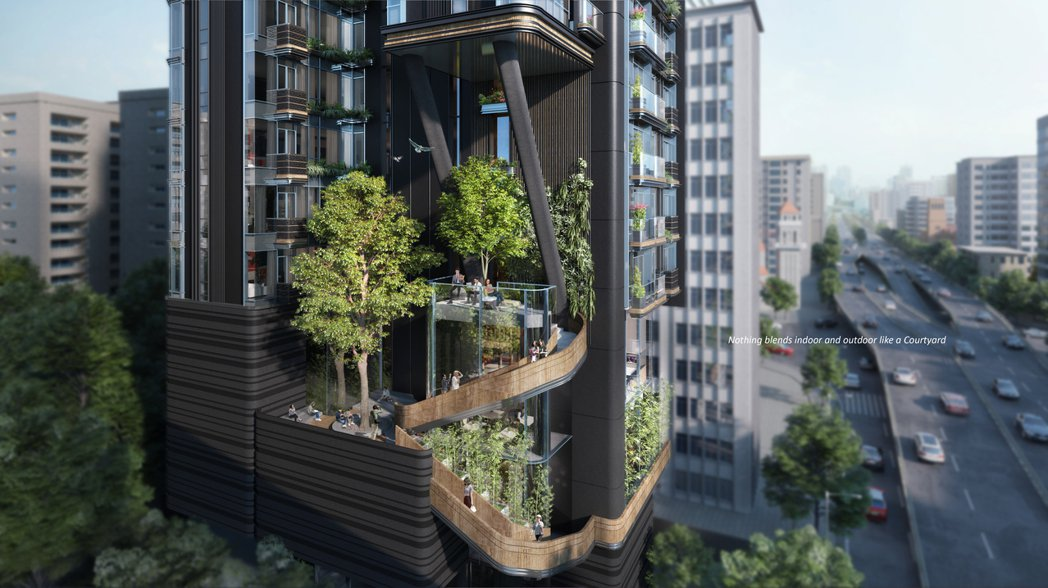 庭緣建案將「庭院」的概念結合並應用於高樓設計中,極具標誌式戶外樓梯設計,不僅創造...