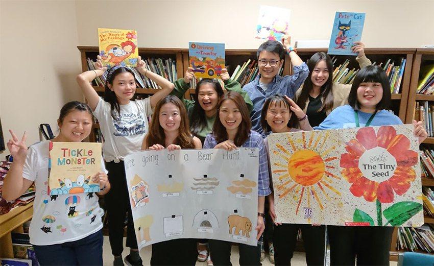 長庚科大幼保系學生赴美國密西根州立大學附設實驗幼兒園實習。 長庚科大/提供