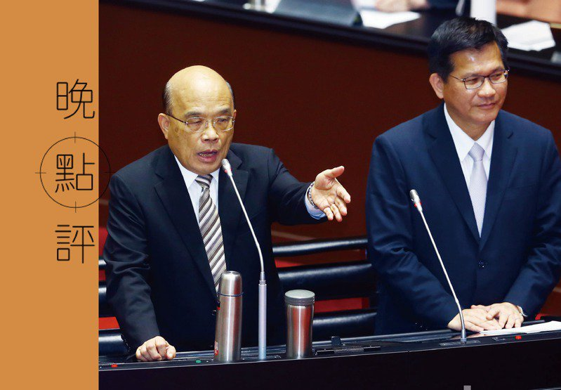 對於太魯閣事故,民進黨防火牆已很清楚:要林佳龍(右)一肩扛,責任不能燒到蘇貞昌(左)。圖/聯合報系資料照片