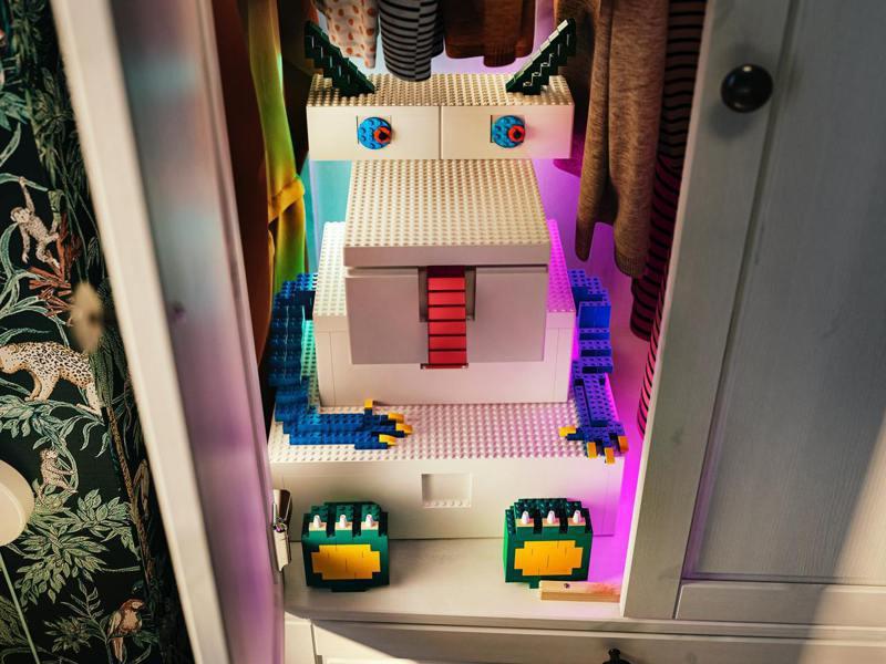 IKEA X LEGO樂高合作的BYGGLEK系列,遊戲盒也能互相組裝成大件作品。圖/IKEA提供