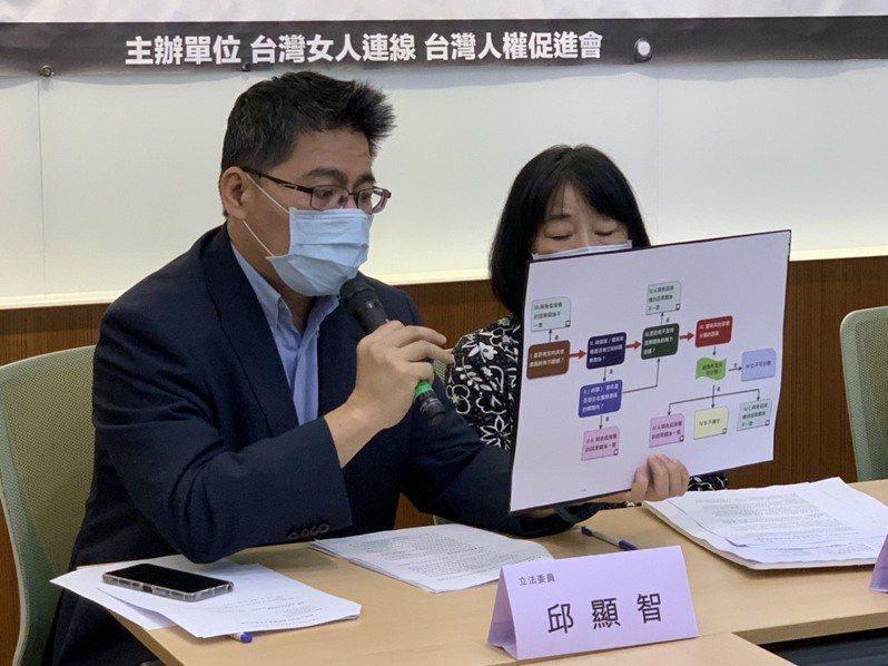 時力黨團總召邱顯智(左)。聯合報系記者陳雨鑫/攝影