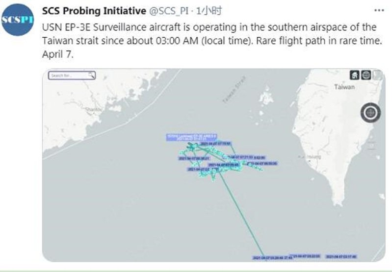 大陸智庫「南海戰略態勢感知」計畫平台,7日在推特發布,美國海軍一架EP-3E偵察機在清晨3時17分飛經巴士海峽後,轉飛向西北方,在大陸沿海及台灣西南空域抵近偵察。(「南海戰略態勢感知」計畫平台推特)
