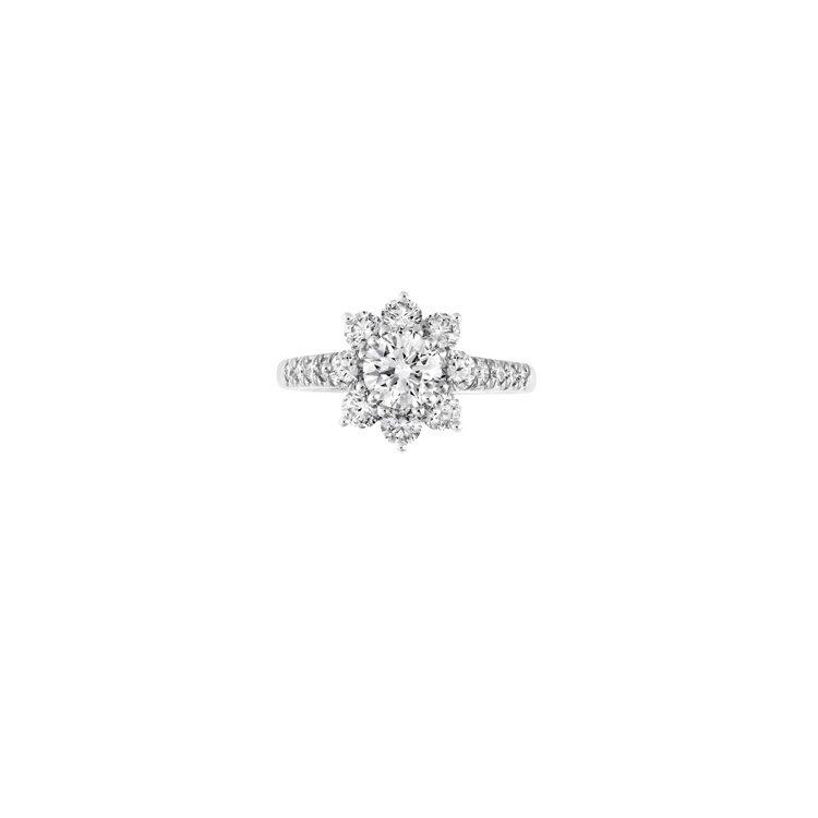 海瑞溫斯頓Sunflower系列鑽石戒指,鑽石總重約1.72克拉、鉑金底座,價格...