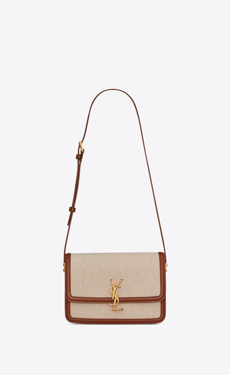 Solferino棉質帆布與焦糖褐色小牛皮小型肩背包,77,900元。圖/Sai...