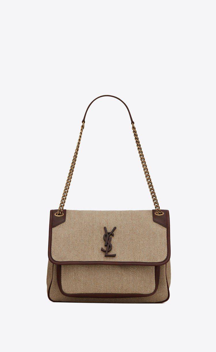 Niki亞麻帆布與深咖啡色小牛皮滾邊肩背包,67,550元。圖/Saint La...