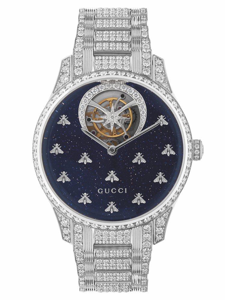 GUCCI G-Timeless 18k白金陀飛輪腕表,面盤除了使用藍色砂金石,...