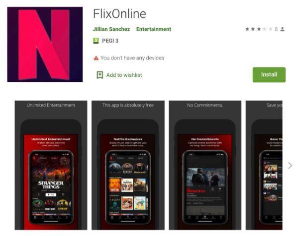 惡意軟體「FlixOnline」在Google Play上架,用假冒Netflix的下載連結,吸引用戶上鉤。 圖擷自Check Point Research