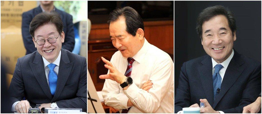 最有機會接班文在寅(68歲)的進步派三巨頭,李在明(左,56歲)、丁世均(中,7...