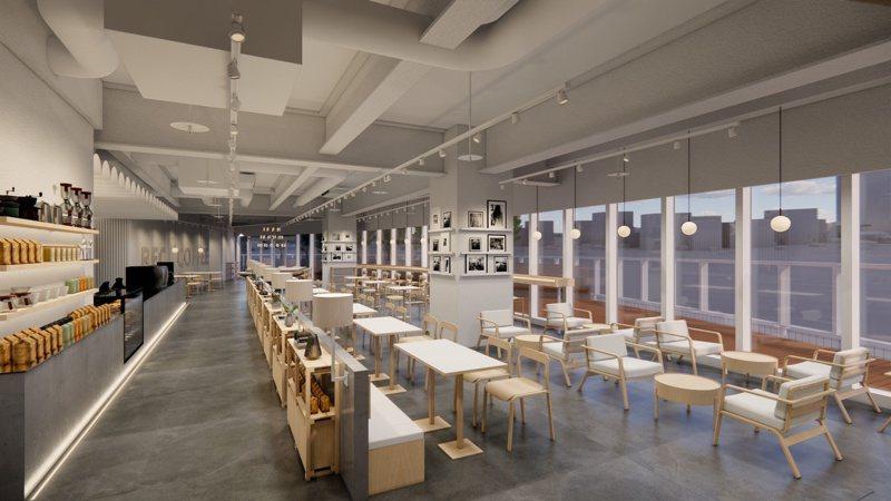 REC coffee台灣首店佔地150坪,座落於26樓高的室內空間寬敞舒適。 圖/REC coffee提供