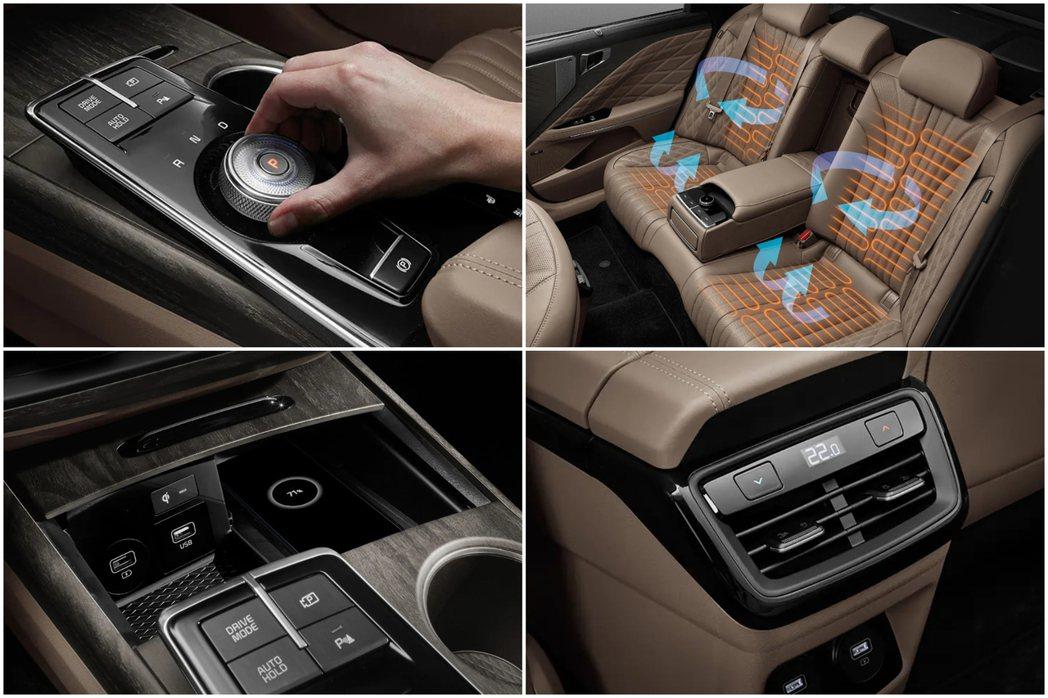 Kia K8車內使用了SBW旋鈕式排檔系統。 摘自Kia
