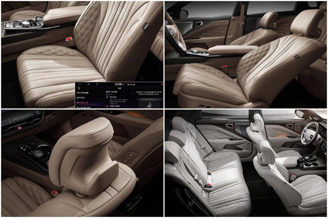 Kia K8在前座頭枕後裝設了可掛衣服或物品的特殊設計。 摘自Kia