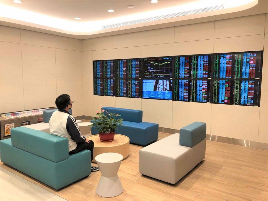 北富銀「光明假日分行」一樓設置整面「看盤區」,能即時顯示國際主要股市指數、台股個...