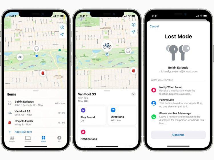 使用者可以在「尋找」App中的全新物品標籤頁,追蹤屬於自己的物品,發出聲音確認位...