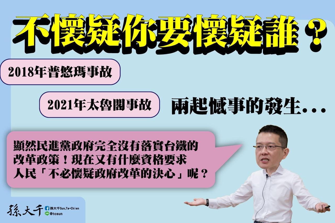 蔡英文再宣示改革台鐵 孫大千:滿口漂亮話一堆扯爛汚