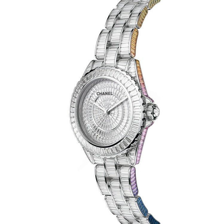 J12 Electro Star 33毫米白金鑲鑽與彩色剛玉腕表,價格未定,限量...
