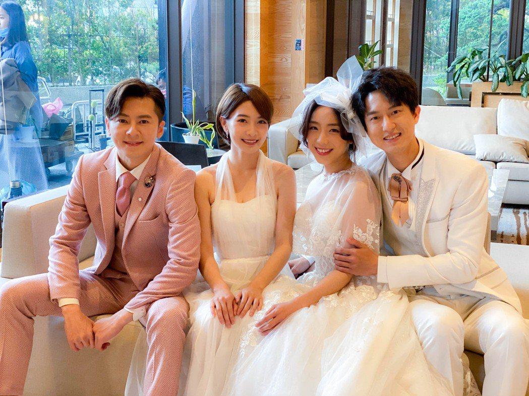 李國毅(左起)李亦捷、梁舒涵和邱昊奇拍攝大結局。圖/三立提供