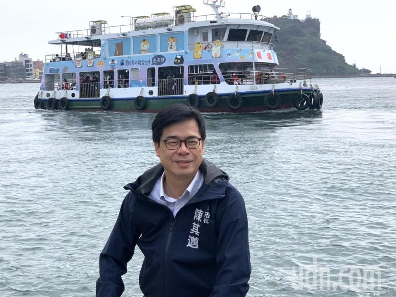 鼓山魚市場擁有絕佳海景,高雄市長陳其邁邀大家來觀光休憩。記者徐如宜/攝影