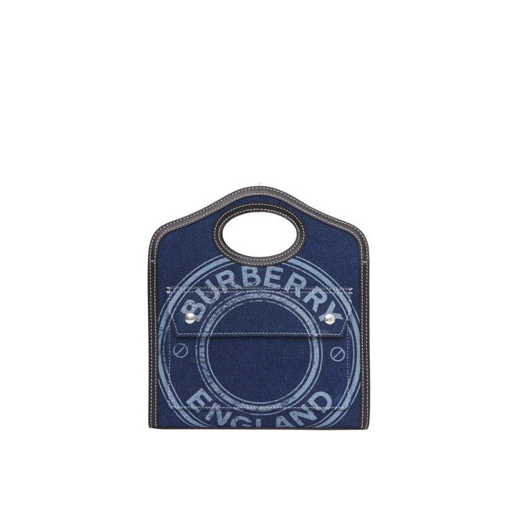 徽標圖案丹寧及皮革迷你Pocket包暗帆布藍色,44,500元。圖/BURBER...