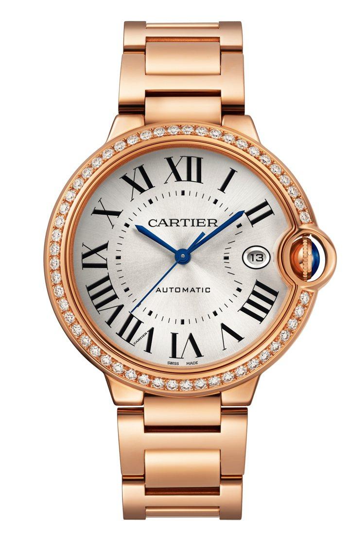 Ballon Bleu 40毫米玫瑰金鑲鑽自動腕表,125萬元。圖/卡地亞提供