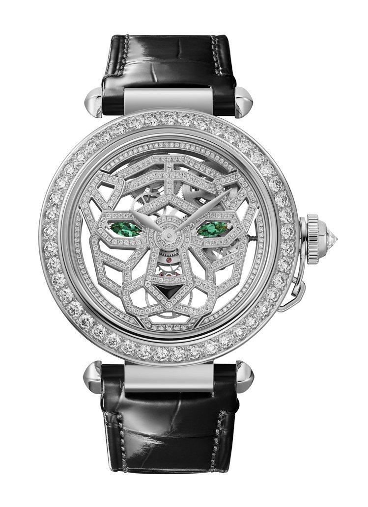 Pasha de Cartier美洲豹鏤空白金鑽表,392萬元。圖/卡地亞提供