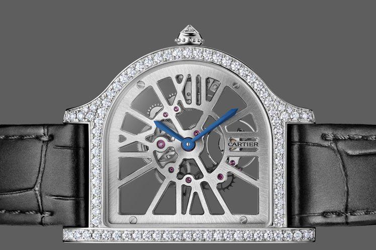 Cartier Prive系列Cloche de Cartier鏤空鑲鑽鉑金腕表...
