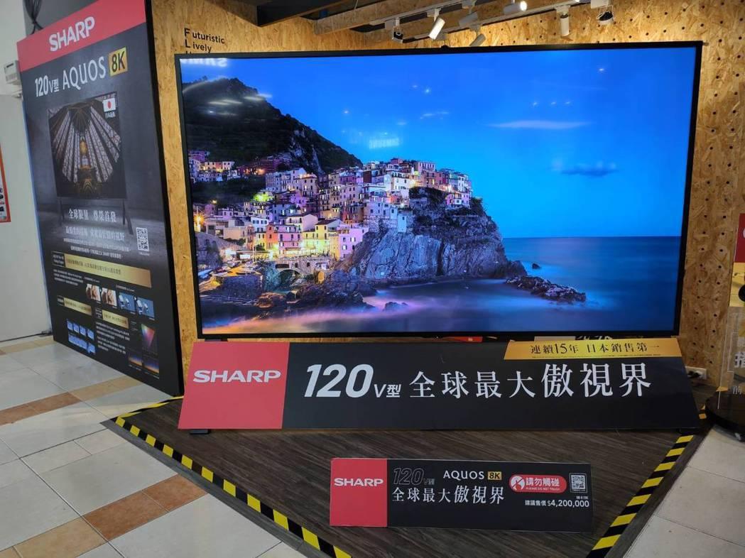 價格等於超跑級的大電視來了 ,夏普120吋8K海神超跑級電視售價600萬元, 燦...