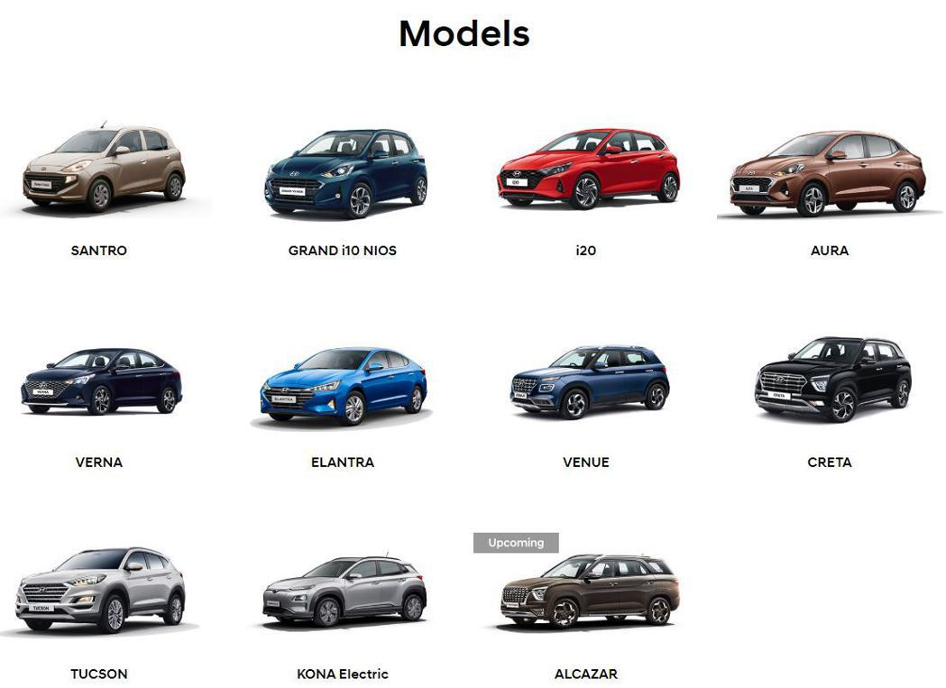 Hyundai在印度市場所販售之車輛陣容。 圖/截自Hyundai India官...