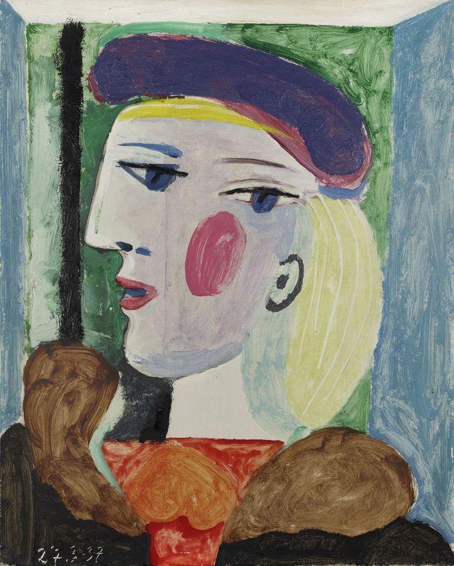 巴布羅・畢卡索《戴淡紫色貝雷帽的女子》,1937年作。(圖片提供/邦瀚斯) © ...